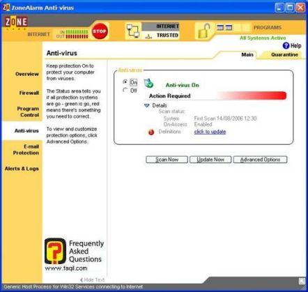 חזרה למסך הראשי,ZoneAlarm Anti-Virus