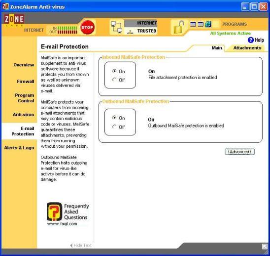 הגדרות אימייל,ZoneAlarm Anti-Virus