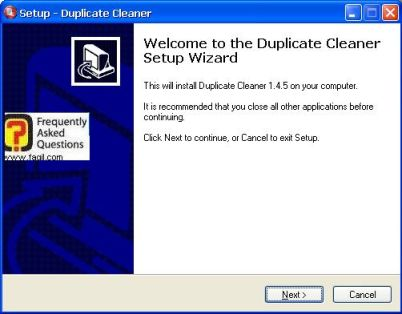 מסך ברוכים הבאים להתקנה,תוכנתDuplicate Cleaner