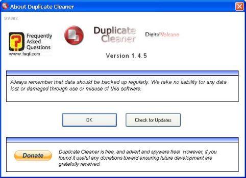 גירסת התוכנה ועדכונה,תוכנת Duplicate Cleaner