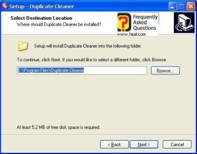 מסך מיקום היעד  להתקנה,תוכנת Duplicate Cleaner