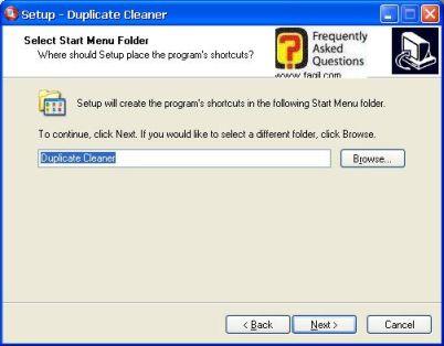 מסך תפריט מהיר בהתקנה,תוכנת Duplicate Cleaner