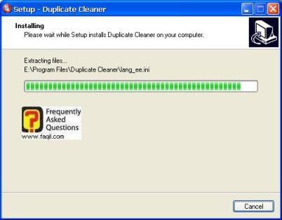 ההתקנה החלה,תוכנת Duplicate Cleaner