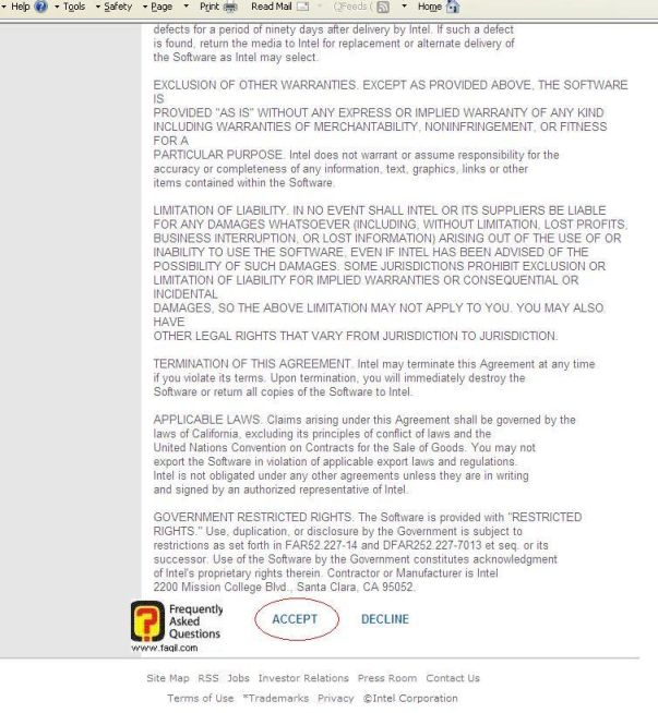 הסכמה לתנאי השימוש להורדה באתר אינטל