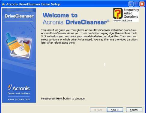 מסך ברוכים הבאים  להתקנה,תוכנתDriveCleanser