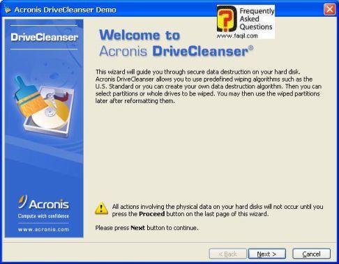 מסך ברוך הבא לתוכנה,תוכנתDriveCleanser