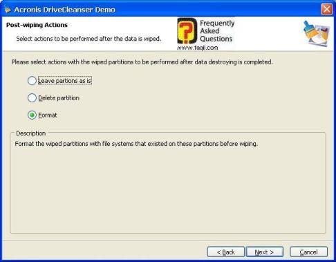בחירת האופציה המתאימה,תוכנתDriveCleanser