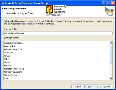 מסך התפריט המהיר בהתקנה,תוכנתDriveCleanser