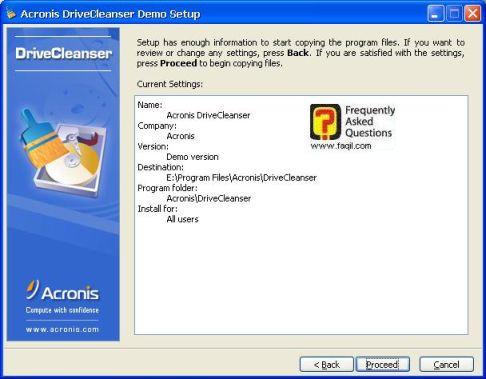 מסך קרא לפני  התקנה,תוכנתDriveCleanser