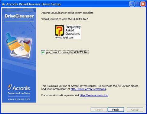 סיום ההתקנה,תוכנתDriveCleanser