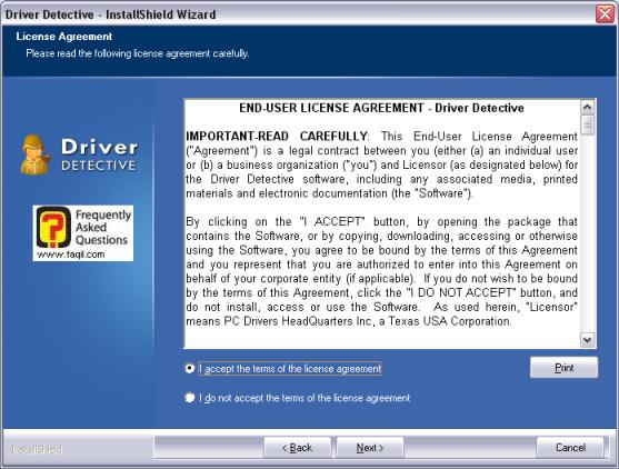 מסך הסכם הרישיון  להתקנת התוכנה, driver detective