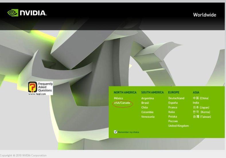 בחרו usa, באתר nvidia