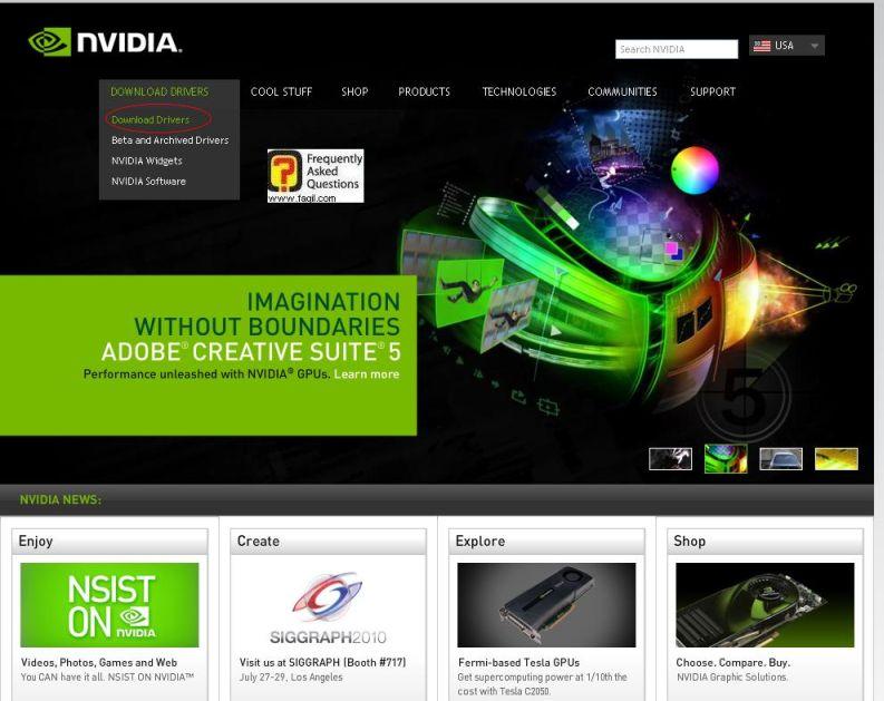 בחרו הורד דרייברים, באתר nvidia