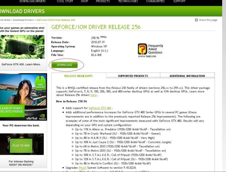בחרו הורד, באתר nvidia