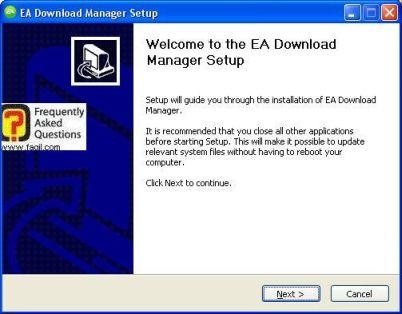 מסך ברוכים הבאים להתקנה, EA Download