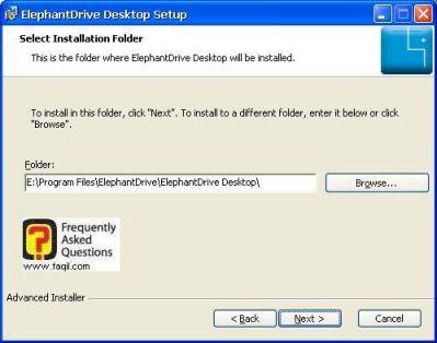 מסך מיקום היעד להתקנה  לElephantDrive