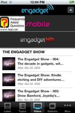 כותרות וקטגוריות ראשיות, אפליקציית Engadget