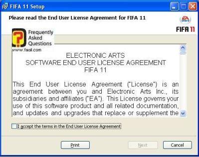 הסכם הרישיון,fifa 11 (פיפ