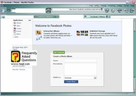 אפליקציית יצירת אלבום תמונות, פייסבוק