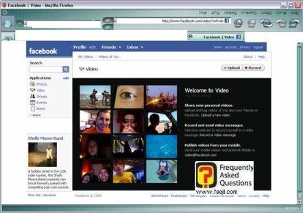 חלון העלאת וידאו לאתר, פייסבוק