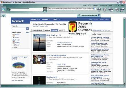 חלון האירועים הפופולארים, פייסבוק