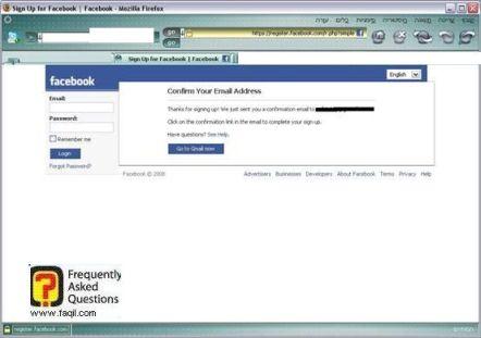 אימות חשבון, הרשמה לפייסבוק