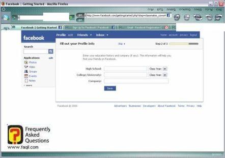 מילוי פרטים, פייסבוק