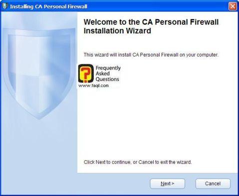 מסך ברוכים הבאים להתקנה,CA Personal Firewall
