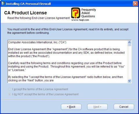 מסך תנאי שימוש להתקנה,CA Personal Firewall