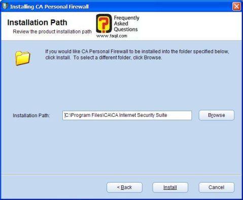 מסך מיקום היעד להתקנה,CA Personal Firewall