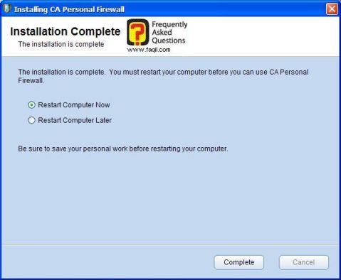 הפעלה מחדש של המחשב,CA Personal Firewall