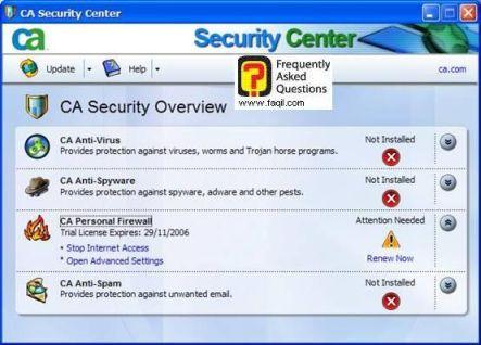 בחרו פתח הגדרות מתקדמות ,CA Personal Firewall