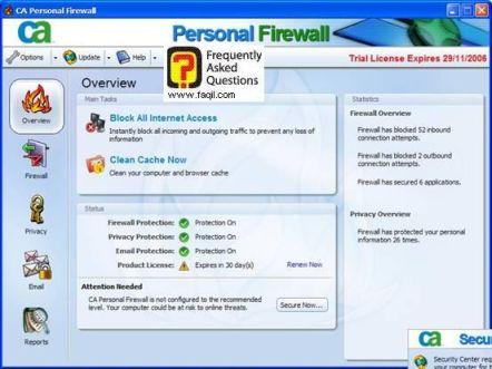 אם ברצונכם לחסום הכל ,CA Personal Firewall