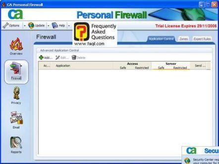 כל התהליכים הרצים ברקע ,CA Personal Firewall