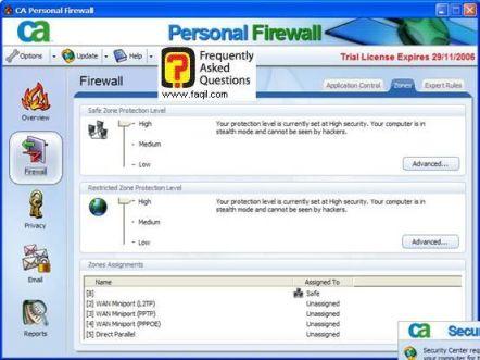 הגדרות מהגבוה לבינוני,CA Personal Firewall