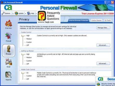 הגדרות אבטחה קוקיס,CA Personal Firewall