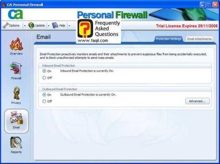 הגדרות אימייל,CA Personal Firewall