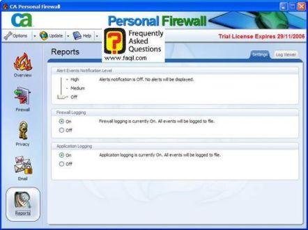הגדרות דוחות,CA Personal Firewall