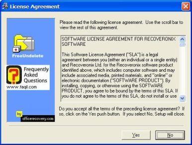 מסך תנאי שימוש להתקנה,תוכנת FreeUndelete