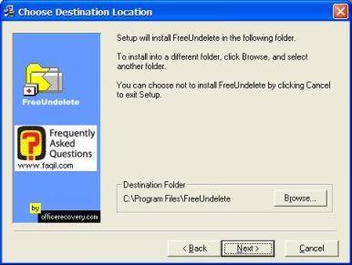 מסך בחירת מיקום יעד להתקנה,תוכנת FreeUndelete