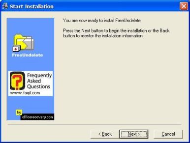 מסך קרא לפני ההתקנה,תוכנת FreeUndelete