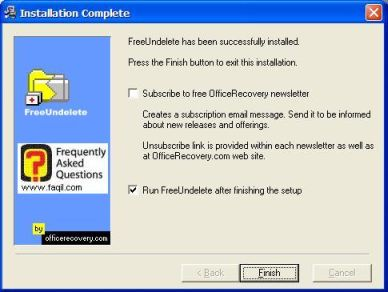 ההתקנה הסתיימה,תוכנת FreeUndelete