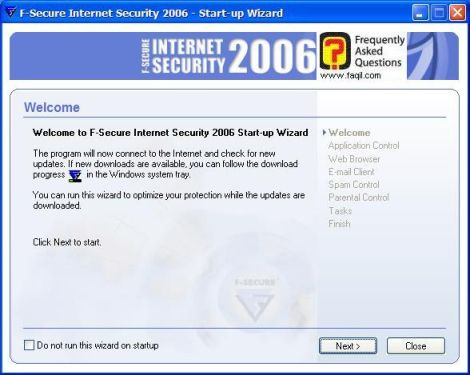 מסך ברוך הבא לתוכנה,מרכז  האבטחה F-Secure