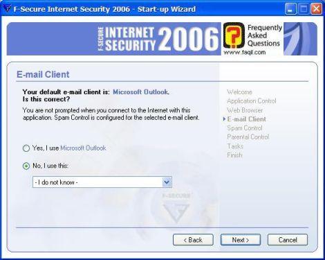 מסך סימון תוכנת הדואר שאתם משתמשים ,מרכז  האבטחה F-Secure