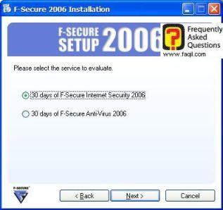 מסך הודעה שהתוכנה לניסיון,מרכז  האבטחה F-Secure