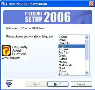 מסך בחירת שפת התקנה,מרכז  האבטחה F-Secure