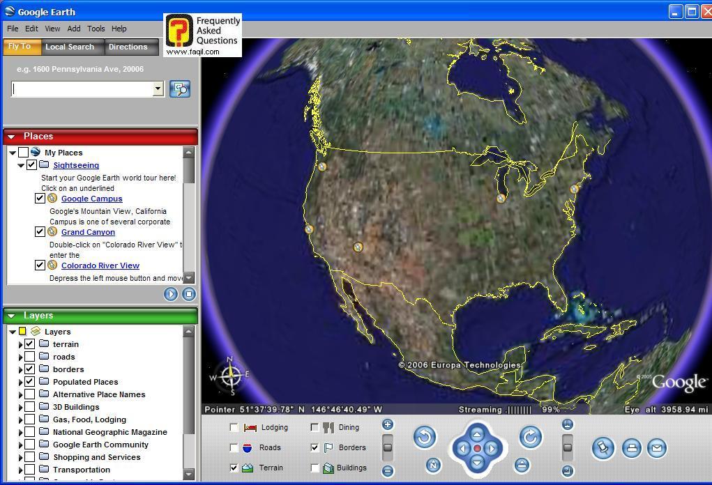 המסך הראשי,  Google Earth