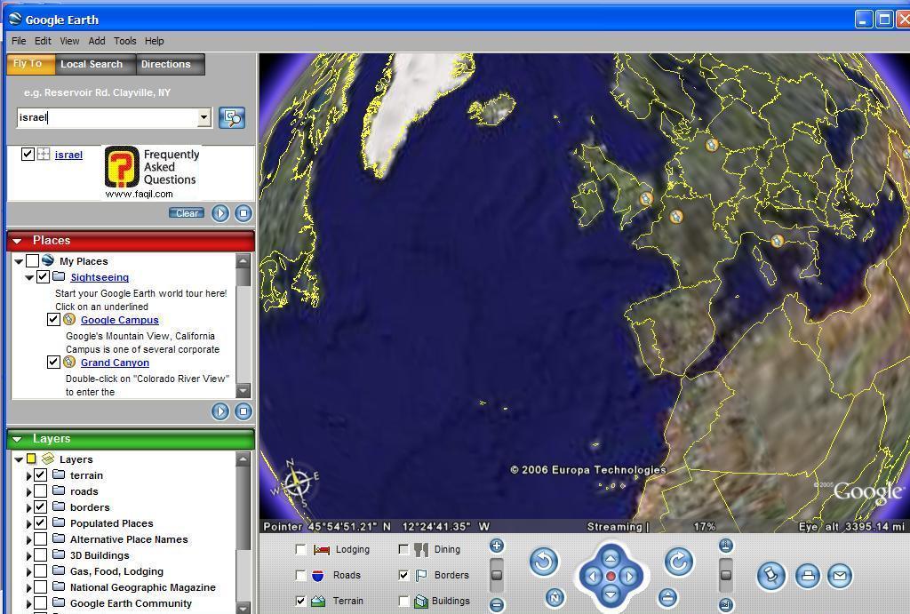 שטח הצילום האווירי, ב Google Earth