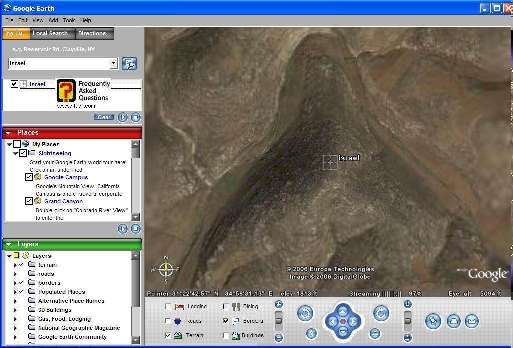 בחירה בישראל, ב Google Earth