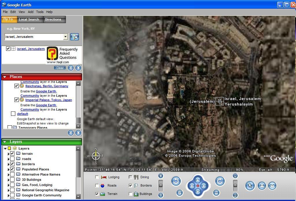 אפשרות ההשטחה בישראל, ב Google Earth